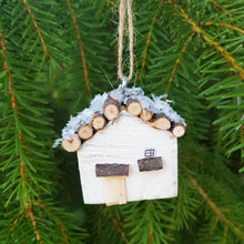 Load image into Gallery viewer, Tiny Wooden Log Cabin Christmas Tree Ornament