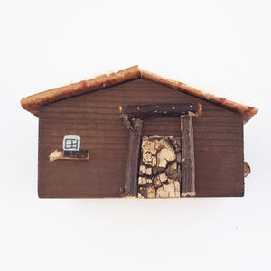 Rustic Wooden Log Cabin Cabin Christmas Ornament