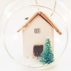 Christmas Scene Bauble Snow Scene Christmas Tree Rustic Decor - Can be made in a colour of your choice