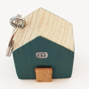 Teal Wooden Houses Key Ring