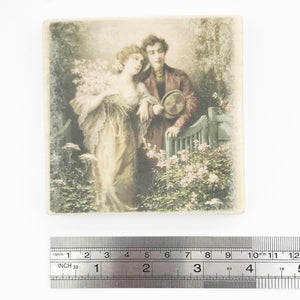 Wood Coasters with Vintage Style Romantic Scene