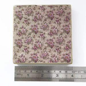 Pink Floral Wood Coaster Set