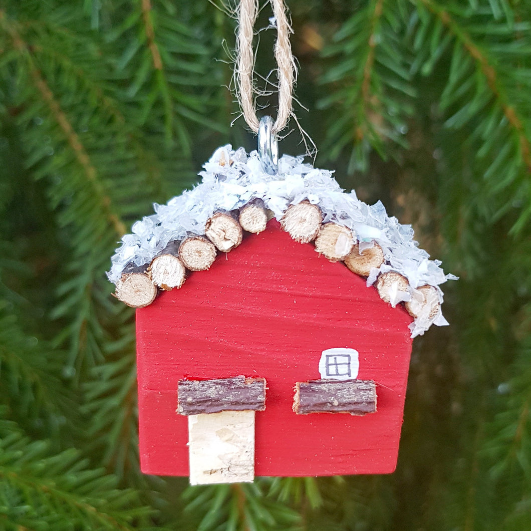 Red Log Cabin Ornament Wooden Christmas Tree Decorations Holiday Decor