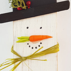 Tiny Wood Snowman Ornament