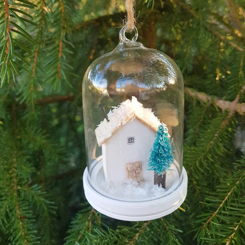 House Christmas Tree Ornament Miniature Christmas Scene - House available in a colour of your choice to match your Holiday decor