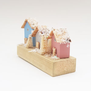 Wooden Cottages with Snow Christmas Decor