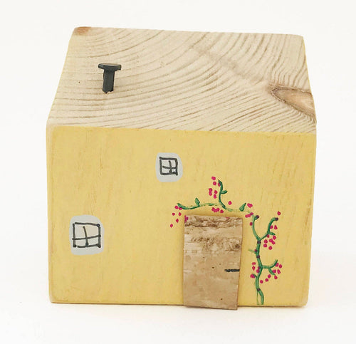 Yellow House Decorative Ornaments Small Wooden Houses Wooden Gifts