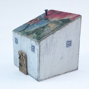 Wooden Painted House Reclaimed Wood Ornament Handmade Gift