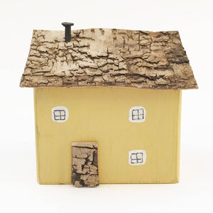 Yellow Wooden House Wooden Ornaments New Home Ornament