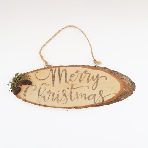 Natural Wood Christmas Sign