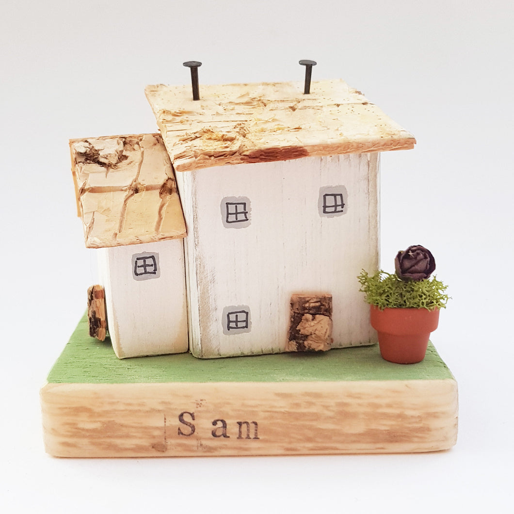 Rustic Wooden House Ornament Personalized Gift - Painted in a colour of your choice