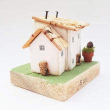 Load image into Gallery viewer, Rustic Wooden House Ornament Personalized Gift - Painted in a colour of your choice
