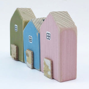 Houses in a Row for Shelf Wooden Houses Ornament Wood Decoration