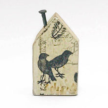 Load image into Gallery viewer, Reclaimed Wood Houses Tiny Wooden House with Vintage Style Bird Pattern on reverse
