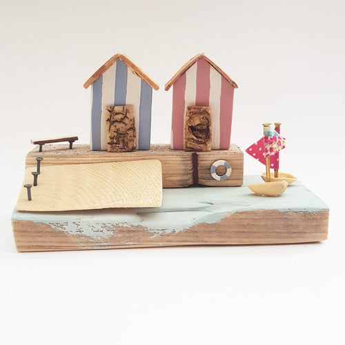 Wooden Coastal Art Nautical Miniatures Beach Hut Ornaments