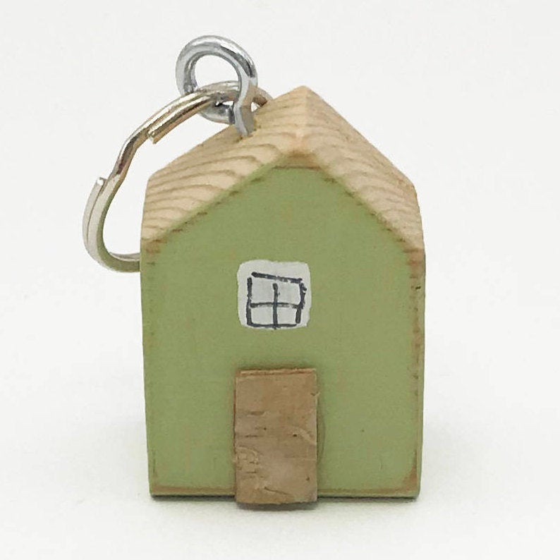 Keychain House Wooden Key Ring House Tiny House New Home Gift Tiny Gifts