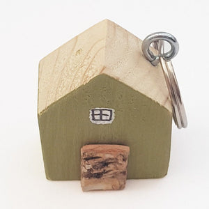 Keychain Green House Keyring Wood Gift