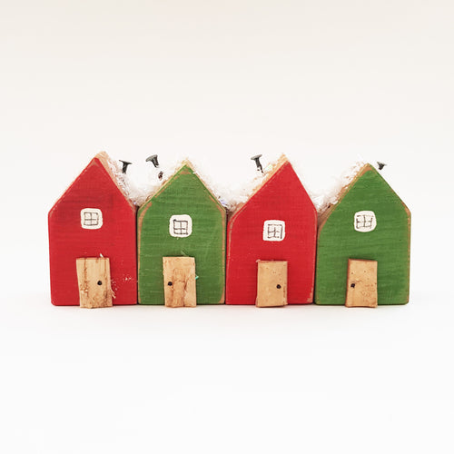Wooden Houses Christmas Ornaments