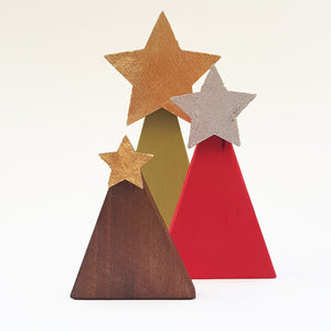 Rustic Wooden Christmas Tree Set