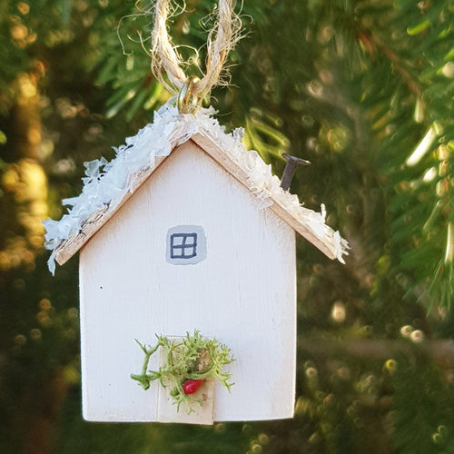 Tiny Wood House Christmas Tree Decoration