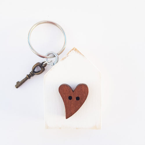 Wooden House Keyring Unique Gift