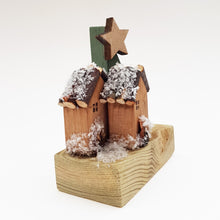Load image into Gallery viewer, Tiny Wood Log Cabin Christmas Decoration Rustic Christmas Ornaments Wooden Christmas Decor Christmas Scene Rustic Holiday Decor Wood Decor