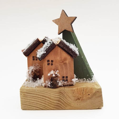 Tiny Wood Log Cabin Christmas Decoration