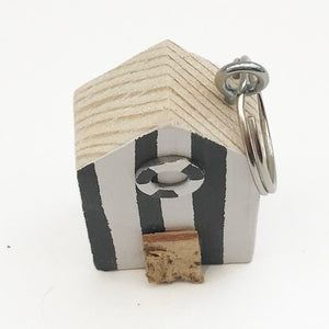 Wooden Keyring Beach Hut Miniature