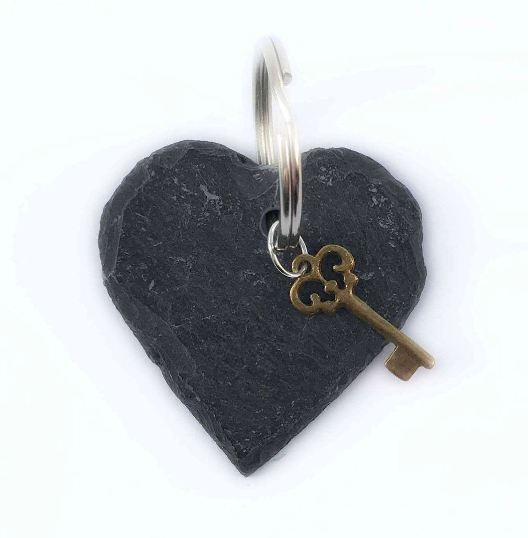 Heart Key Chain Slate Keyrings Small Gifts