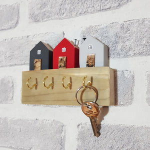 Grey and Red Wooden Key Holder Wood Key Holder for Wall Key Hooks Wooden Key Hanger Key Rack Wooden House Key Hook for Wall Home Wall Hooks