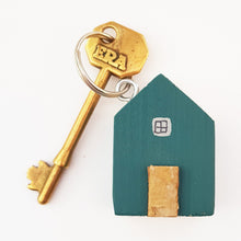 Load image into Gallery viewer, Teal Wooden Houses Key Ring