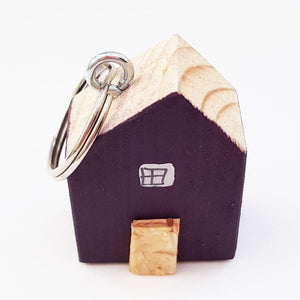 Handmade Wood House Key Ring