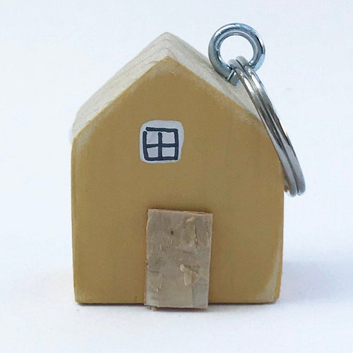 Yellow House Keychain Wood