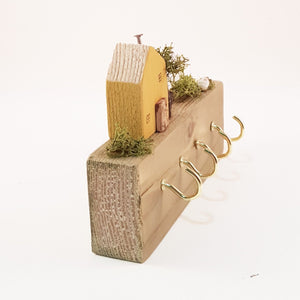 Key Holder for Wall with Tiny House and Garden - Wooden House can be painted in a colour of your choice