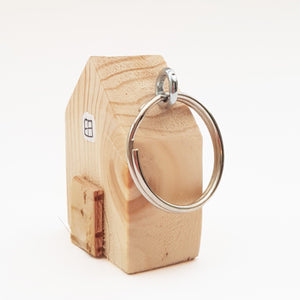 Natural Wood Miniature House Key Ring