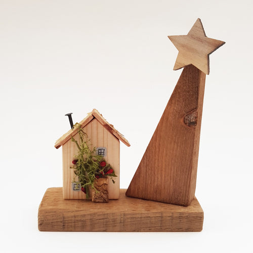Tiny Wooden House with Tree Christmas Ornaments