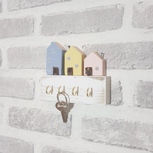 Load image into Gallery viewer, Pastel Wooden Houses Key Rack for Wall Key Holder Key Hook Key Rack Hooks Rack Hooks Wall Wooden Key Organiser Key Hook House Wooden Hooks