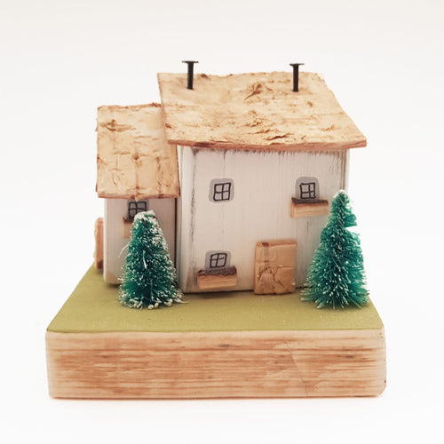 Wooden Cottage Winter Scene