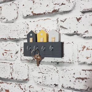 Key Holder with Grey and Yellow Wooden Houses Key Holder for Wall Key Hook Key Rack Wall Key Holder Home Wooden Key Holder Grey Home Decor
