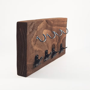 Key Holder for Wall with Miniature Bulldog Clips - Painted in a colour of your choice or stained dark wood