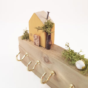 Key Holder for Wall with Wooden House and Garden
