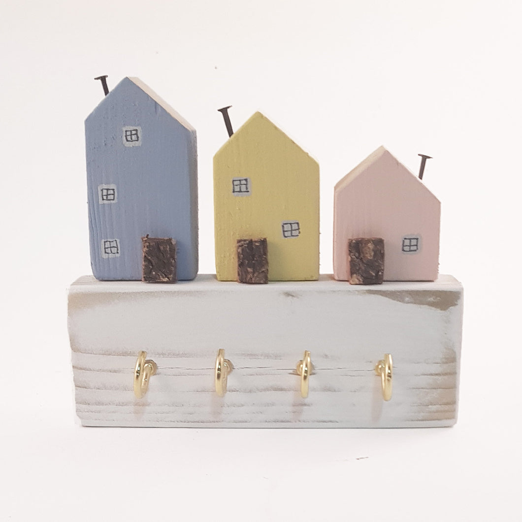 Pastel Wooden Houses Key Rack for Wall Key Holder Key Hook Key Rack Hooks Rack Hooks Wall Wooden Key Organiser Key Hook House Wooden Hooks