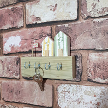 Load image into Gallery viewer, Key Holder Wood with Tiny Beach Huts Wooden Nautical Decor - Painted in a colour of your choice