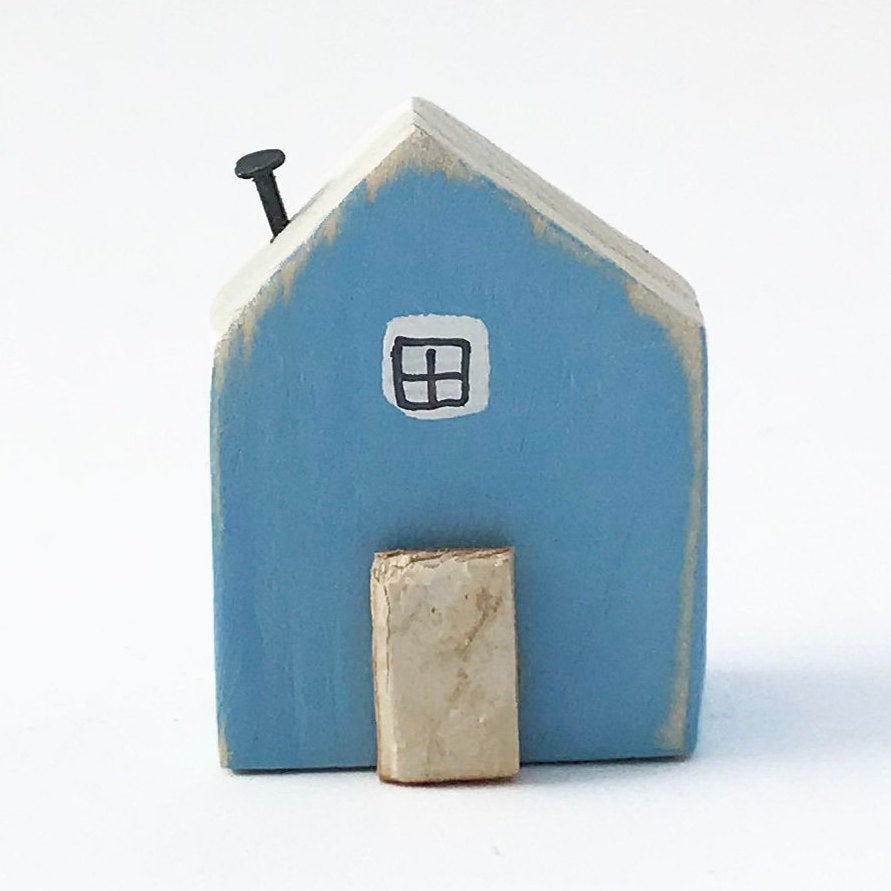 Wooden Magnets Tiny Wood House for Magnetic Board or Fridge Blue Magnet