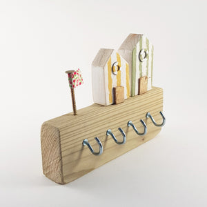 Key Holder Wood with Tiny Beach Huts Wooden Nautical Decor - Painted in a colour of your choice