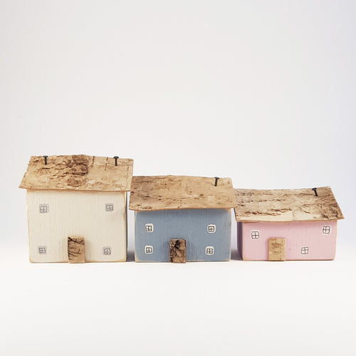 Wooden Houses Ornaments Set of 3 Wood Decor Wooden House Decor