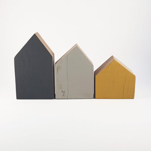 Wooden Houses Wooden Decor Blocks Wooden Home Decor - Painted in colours of your choice