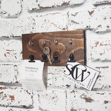 Load image into Gallery viewer, Key Holder for Wall with Miniature Bulldog Clips - Painted in a colour of your choice or stained dark wood