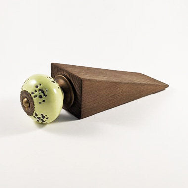 Wooden Door Stop finshed with a Rustic Green Ceramic Knob Gifts for Home Wood Decor