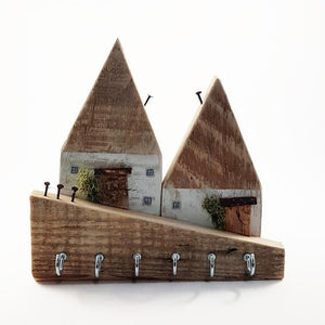 Rustic Wooden Cottages Key Holder for Wall - Painted in a colour of your choice
